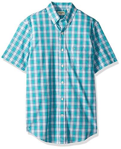 (Dockers Men's Short Sleeve Button Down Comfort Flex Shirt, Ceramic Blue)