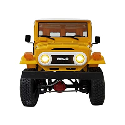 Off-Road Trucks Model Cars , WPL C34 RTR 1/16 2.4Ghz 4W RC Cars Buggy FJ40 Model with LED Light Kids Toy Gift for 3-8 Year Old Kids - Yellow: Toys & Games