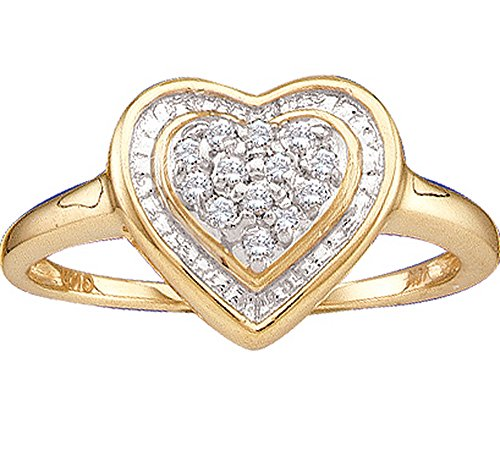 Jewels By Lux 10kt Yellow Gold Womens Round Diamond Heart Frame Cluster Ring 1/10 Cttw Ring Size 9