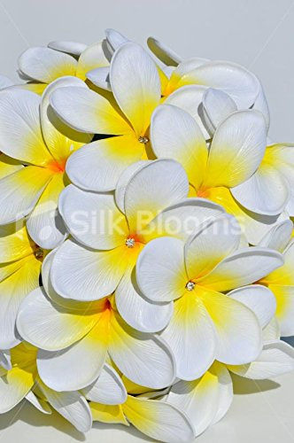 Gorgeous-Artificial-Fresh-Touch-Ivory-and-Yellow-Centred-Frangipani-Bridal-Bouquet