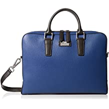 Bruno Magli Men's Bicolor Thin Briefcase Bag, Navy