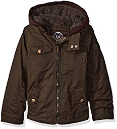 Urban Republic Little Boys\' Toddler Washed Cotton Twill Jacket with Fleece Hood and Sherpa Lining, Olive, 4T