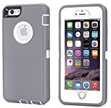 iPhone 7 Plus Case, Daul Layer Armor [Full body] [Heavy Duty Protection ] Shock Reduction / Bumper Case with built in Screen Protector for Apple iPhone 7 Plus 2016 Release (White/Gray)