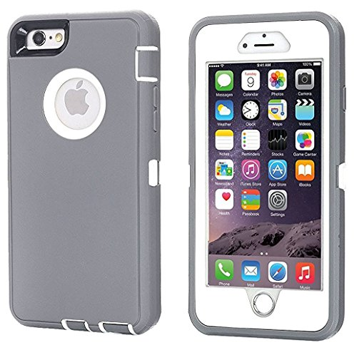 iPhone 6 Case, iPhone 6S Case [HEAVY DUTY] AICase Built-in Screen Protector Tough 3 in 1 Rugged Shorkproof Cover for Apple iPhone 6/6S - Grey Case