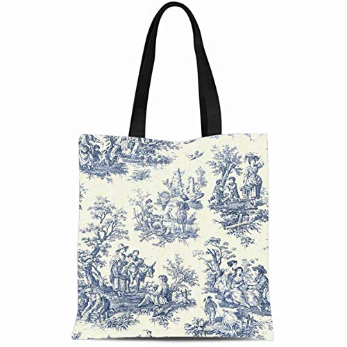 Ahawoso Canvas Tote Bag 14x16 Inches Blue Vintage Toile Durable Reusable Custom Shopping Shoulder Grocery Bag