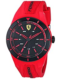 Ferrari Men's 'RedRev' Quartz Stainless Steel and Rubber Casual Watch, Color:Red (Model: 840005)