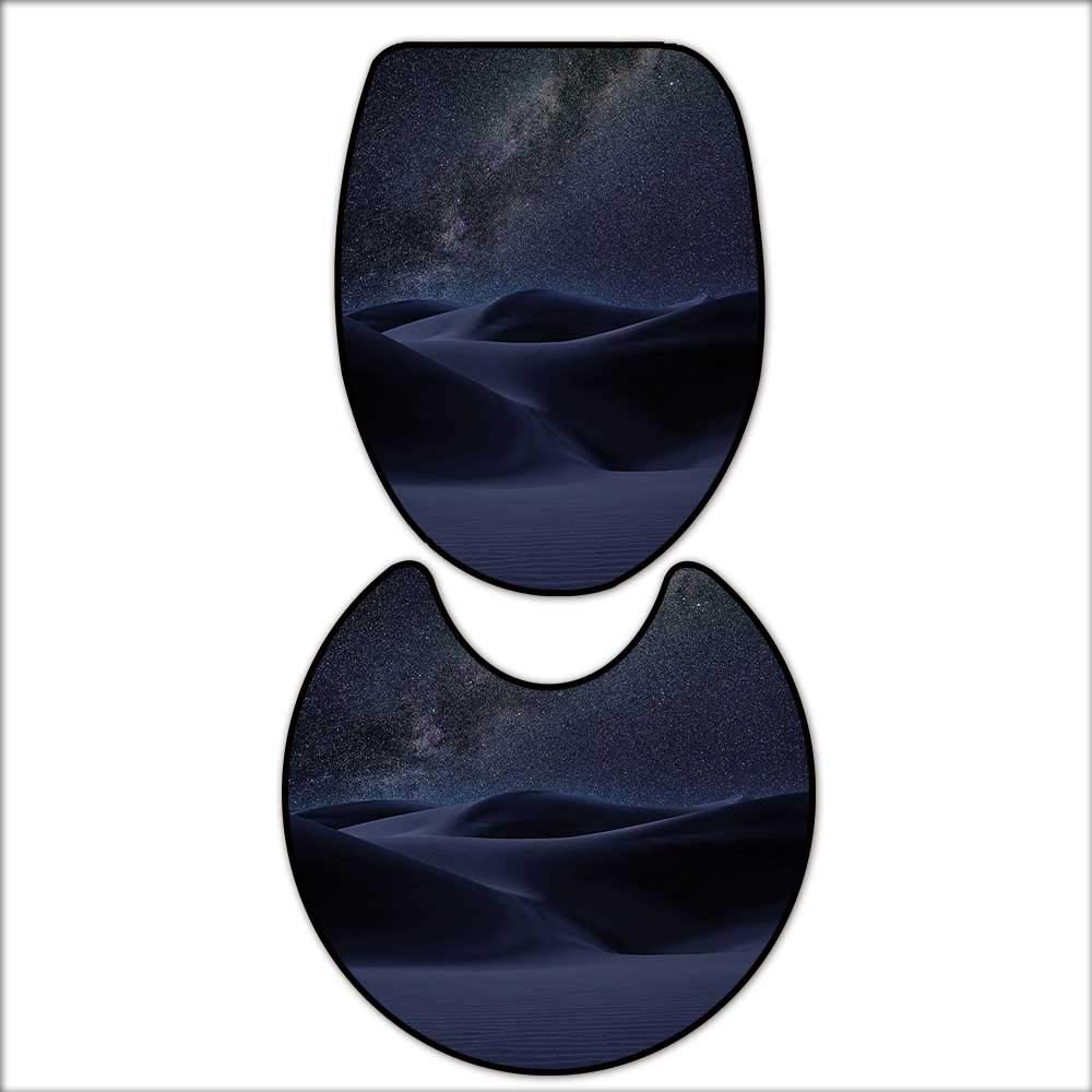 qianhehome 2 Piece Anti-Slip mat Set Desert Sand Dunes in Milky Way Stars at Dark Solar Celestial Reflection Over Earth Picture Blue. Printed Rug Set 16''x19''-D24