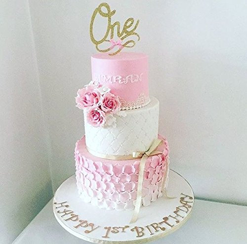 One Cake Topper large gold glitter 1st birthday custom number