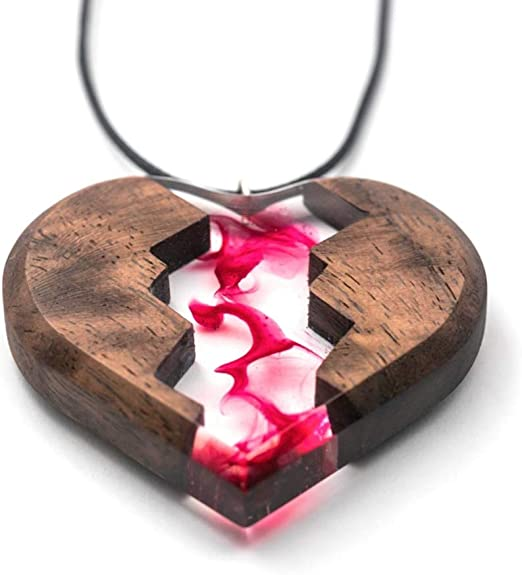 Gift for Women, Resin wood jewelry Wood Resin Necklace Resin wood pendant Wood Necklace Resin jewelry Resin wood necklace
