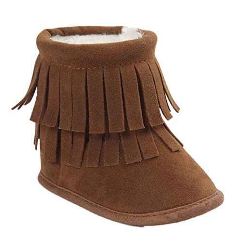Voberry Baby Toddler Girls Boys Winter Warm Snow Boot Tassels Trimmed Boots Outdoor (12~18Month, Khaki)]()