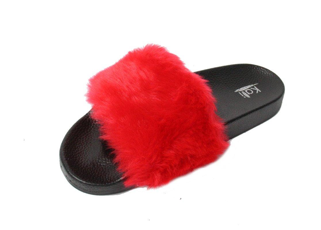 84dfdb12891f2f Kali Footwear Women s Flip Flop Faux Fur Soft Slide Flat Slipper Limit Yoga