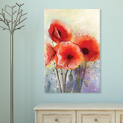 Watercolor Style Red Poppy Flowers
