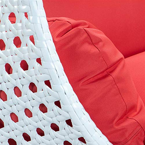 LeisureMod Outdoor White Wicker Hanging Double Egg Swing Chair in Red