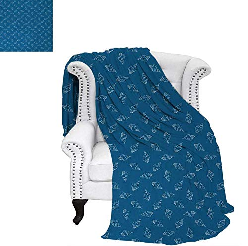 (Warm Microfiber All Season Blanket for Bed or Couch Abstract Nautical Pattern with Hand Drawn Style Seashells Spiral Mollusk Throw Blanket 70