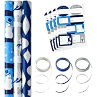 Hallmark Reversible Holiday Wrapping Paper Set with Ribbon and Gift Tag Stickers (Elegant Blue and Silver, 3 Rolls of Wrapping Paper and Ribbon)