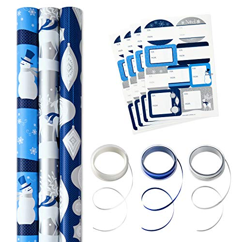 Hallmark Reversible Holiday Wrapping Paper Set with Ribbon and Gift Tag Stickers (Elegant Blue and Silver, 3 Rolls of Wrapping Paper and Ribbon) ()