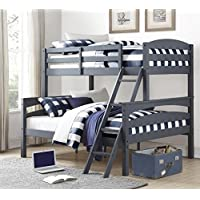 LEIGHTON TWIN-OVER-FULL BUNK BED, Multiple Colors by Better Homes and Gardens (Gray)
