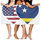 PMNADOU Unisex Curacao USA Flag Twin Heart Over-Sized Cotton Bath Beach Travel Towels 31x51 Inch