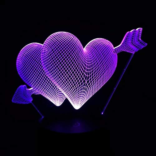 1 Set 3D RGB Love Heart Shape LED Night Lights Christmas Light Girls Lamp Impassioned Fashionable Unicorn Star Bulbs Wall Room Lamps Indoor Outdoor Holiday Decorations