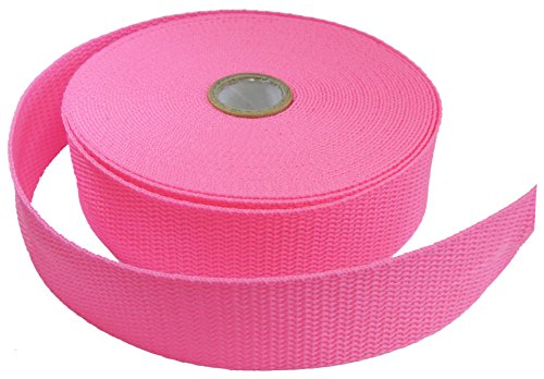 HipGirl Polypropylene Polypro Webbing for DIY Key Chain Fob, Yoga Strap, Tote, Backpack, Chair (10yd 30mm Webbing--Neon Pink)