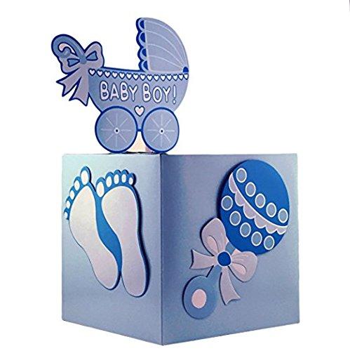 Adorox Blue Girl Baby Shower Wishing Well Card Box Decoration Cute Pretty Keepsake Carriage Rattle (Blue Pram Box)