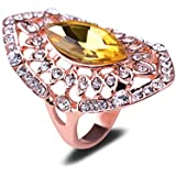 NEW Exquisite Hollow Design Czech Crystal Yellow Glass 18K Rose Gold Plated Ring LOVE STORY (8#)