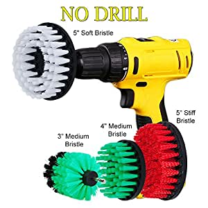 """HIFROM Drill Brush - 3"""" 4"""" 5"""" Soft Medium Stiff Power Scrubbing Brush Drill Attachment for Cleaning Showers Tubs Tile Grout Carpet Upholstery Concrete Brick (Pack of 4)"""