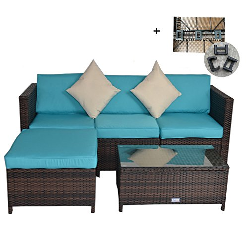 Outime Outdoor Rattan Wicker Sofa Set Garden Patio Furniture Cushioned Sectional Conversation Sets-Easy Assembled(Brown,5 Piece) (Covers Rattan Furniture)