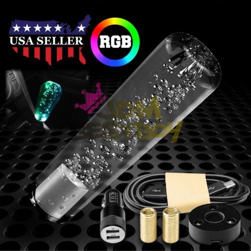 LED Light RGB Shift Knob Stick Crystal Transparent Bubble Gear Shifter 15cm ()