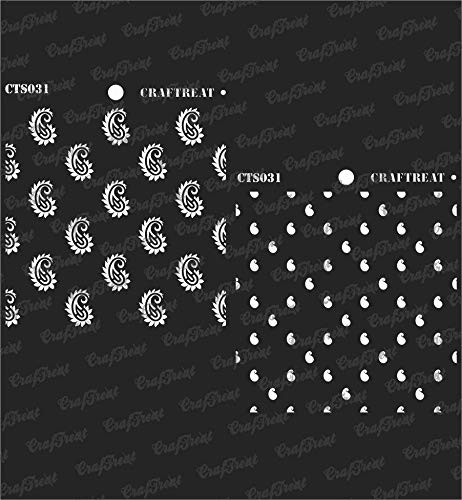 (CrafTreat Stencil - 2 Step Paisley | Reusable Painting Template for Journal, Notebook, Home Decor, Crafting, DIY Albums, Scrapbook and Printing on Paper, Floor, Wall, Tile, Fabric, Wood)