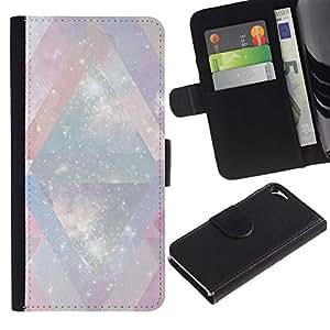 [Neutron-Star] Modelo colorido cuero de la carpeta del tirón del caso cubierta piel Holster Funda protecció Para Apple iPhone 5 / iPhone 5S [ Blanc Univers Chevron rose]