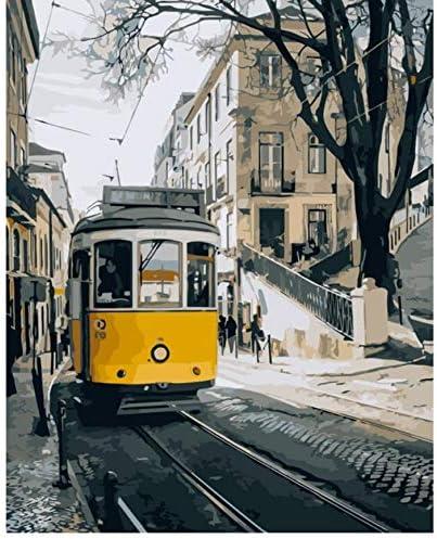 LXHLAN Rue de Lisbonne Paysage Peinture par Num/éros sur Toile Bricolage Peinture Num/érique par Nombre Kits pour Le Salon D/écoration 40X50Cm sans Cadre