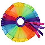 Girls Layered Rainbow Tutu Skirt Dance Dress Colorful Ruffle Tiered Tulle