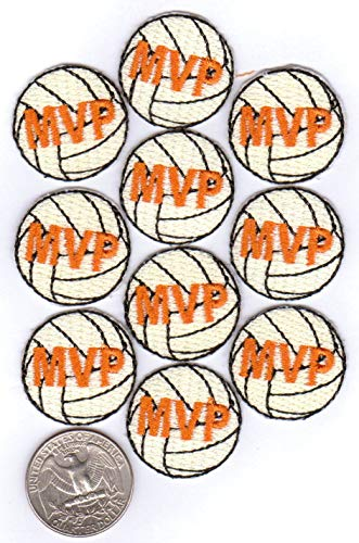 20 Volleyball Patches - MVP - 1.0-inch Diameter 100% Embroidered Iron-On Backing ()