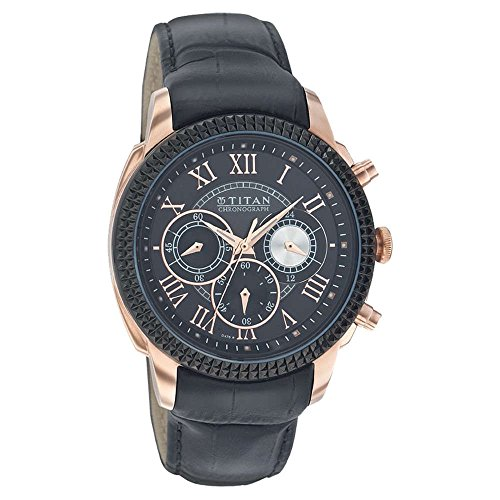Titan Men's 1489KL01 Contemporary - Chronograph - Black Leather Strap Watch