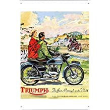 Tin Sign Motorcycle Bike Poster Metal Plate Wall Decor by Jake Box 20*30cm of Triumph The Best Motocycle in the World