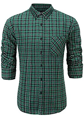 Emiqude Men's Casual Flannel Cotton Slim Fit Long Sleeve Stylish Plaid Dress Shirt