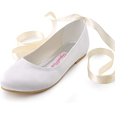 ElegantPark Wedding Flats Shoes Women Wedding Shoes for Bride Flats Bridal Shoes Flats Comfortable Satin Closed Toe Ribbon Tie Ballet Flats | Flats
