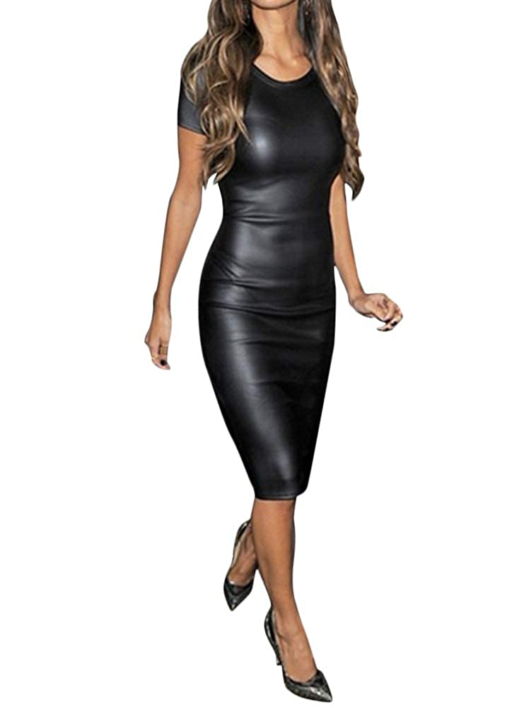 Minetom Kleid Damen Frauen Sexy Langarm PU Leder Bleistiftkleid Festlich Etuikleid Knielang Bodycon Minikleid Clubwear Cocktail Party Abend Kleider