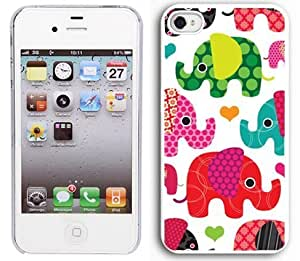 iphone covers Apple Iphone 5 5s 4G White 4W1 Hard Back Case Cover Colorful Elephants Hearts