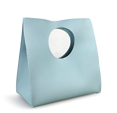 Hoxis Vintage Minimalist Style Soft Pu Leather Handbag Clutch Small Tote (Sea Blue) by Hoxis