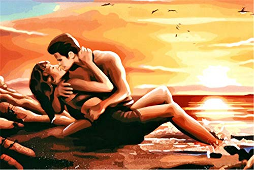 Frameless Oil Painting Set - Paint by Numbers for Adults Frameless Canvas - DIY Full Set of Assorted Color Oil Painting Kit and Brush Accessories -Naked Man Woman by The Sea,16X20