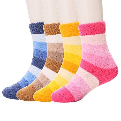 SDBING Children Wool Socks For Boy Girl Kids Toddler Thick Thermal Warm Cotton Winter Crew Socks 4-6 Pairs(3-5 Y) -