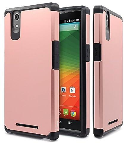 ZTE ZMAX Case, ZMAX Z970 Case, NageBee Design Premium [Heavy Duty] Defender [Dual Layer] Protector Hybrid Cover Case For ZTE ZMAX / ZMAX Z970 (Rose (Zte Zmax Phone Case Z970)