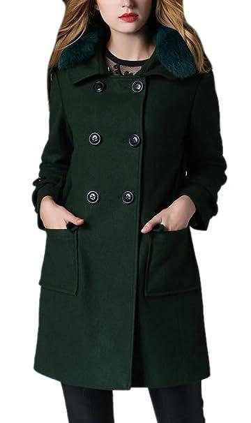 Amazon.com: Vshop-2000 Women\'s Plus Size Faux Fox Fur Lapel ...