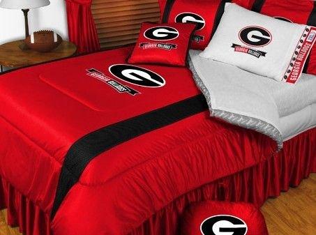 - University Of Georgia Bulldogs NCAA Bedding - Sidelines Comforter and Sheet Set Combo - Twin
