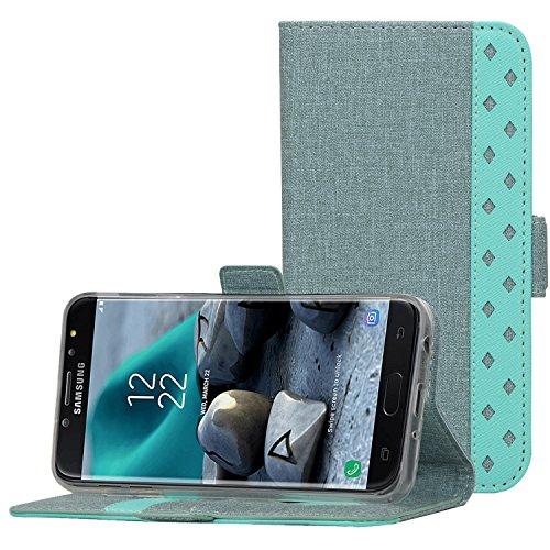 ProCase Galaxy J7 2018 Wallet Case, for Galaxy J7 Aero/J7 Star/J7 Top/J7 Crown/J7 Aura/J7 Refine/J7 Eon Case Folio Folding Flip Kickstand Case Protective Book Cover with Card Holders -Teal