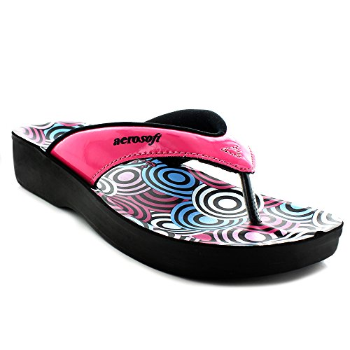 6a2110f069e1f2 Aerosoft Original Womens  Thong Style Sandals with Printed Footbed