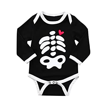 5b775c36ddfc Amazon.com  Halloween Baby Boys Girls Skeleton Long Sleeve Costume ...