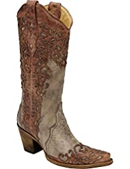 CORRAL Womens Laser Overlay Cowgirl Boot Snip Toe - A2665
